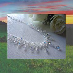 Crystal Necklace, netting stitch