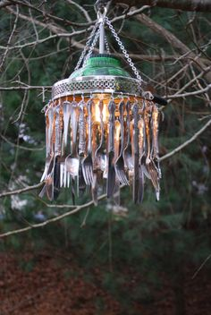 Vintage Recycled Re-Purposed Silverware Chandelier Pendant Lamp Light