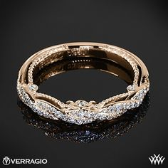 18k Rose Gold Verragio Beaded Braid Diamond Wedding Ring from the Verragio Insignia Collection.
