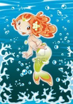 Bebé sirena. Dibujos animados e ilustración vectorial. Foto de archivo - 5609819
