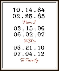 From I (your birth dates), to we (engagement and wedding), to family (kiddos birthdays!)