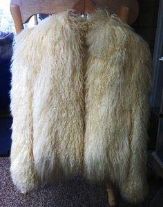 Vintage Cream Colored Mongolian Tibetan Lamb Fur Coat. $300.00, via Etsy.