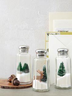 Put salt shakers to work as miniature snowy scenes. Just nestle sisal trees and miniature deer atop the iodized seasoning.