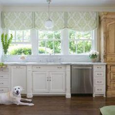 Roman shade - kitchen.. Shutters on bottom?LOL and Dakota's already in the kitchen!