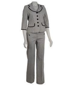 Nine West Women's 2-piece Mini Stripe Pant Suit