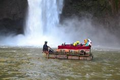 Boat made entirely of recycled materials  shows sustainable living/development. The base is made out of used wooden barrels. It has then been layered with planks of wood with second hand wooden chairs nailed into place. Can also link with biodegradable and non-biodegradable materials.  Via @BananaVsBrain
