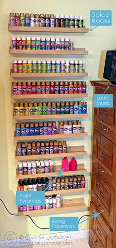 Spice racks from Ikea for paint storage