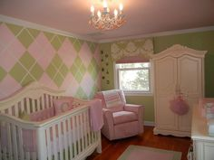 Baby Girl Nursery - Fashionably Preppy, pink and green. The walls are painted not wallpaper