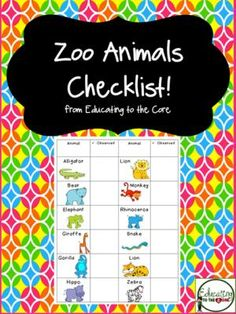 Zoo Animals Checklist Freebie!  from Education to the Core on TeachersNotebook.com -  (3 pages)