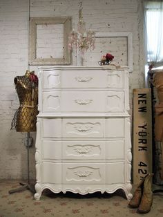vintage white romantic dresser