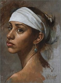 Artist: William Whitaker {contemporary figurative beautiful large eyes african-american black woman portrait painting} #loveit