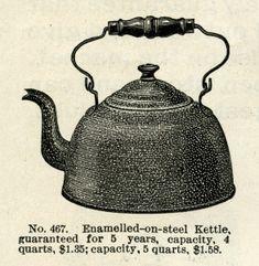 Enamel on Steel Kettle ~ Free Vintage Catalogue Ad Clip Art