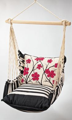 I want one.... front porch, red flowers, patio, hous, hanging chairs, chair swing, hammock, swing chair, outdoor swings