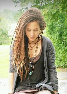 dreadlocks girl, girl hair, dreadi, laid back style, long hair, beauti, rasta, long necklaces, dream hair