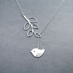 Bird Necklace with Branch 'Melody' Lariat Style