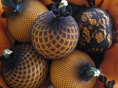 Pumpkins in stockings!  love this...