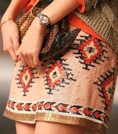 aztec peach sequins mini skirt