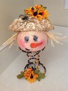 Hand Painted Scarecrow Gourd on Bed Spring by BizzyCreations, $20.00