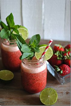Strawberry mint limeade