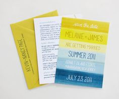 seaside inspired watercolor save the dates