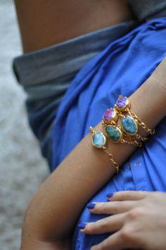 ONE statement jewelry chunky large colorful blue fuchsia pink purple green white agate stones gemstone bracelet chunky chain israel jewelry