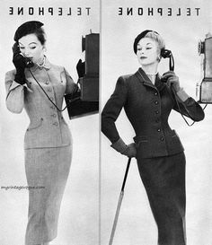 Ciao Bellissima - Vintage Glam; Ivy Nicholson (L) & Lisa Fonssagrives (R)wearing suits by Rothmoor, 1953