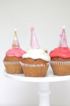 pinks mini party hat cupcake toppers by chiarabelle on Etsy, $15.00