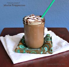 Starbuck's CopyCat Mocha Frappaccinos w/ a Secret Ingredient to keep them from separating.