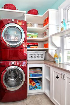 51 Wonderfully clever laundry room design ideas | Love the red washer and dryer!