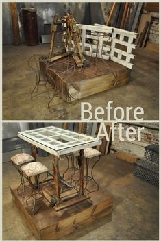 Iron Frames + Piano Dollies + Porch Rails= Custom Dining Set