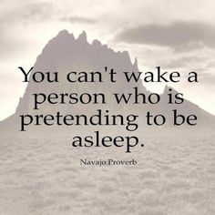 You can't wake a person who is pretending to be asleep.