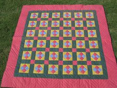 Antique Pennsylvania German Quilt Handmade Handstitched Unwashed Unused Gorgeous Colors. $395.00, via Etsy.