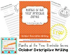 Months of the Year Printable Series FREE October Descriptive Writing #monthsoftheyearlesson #homeschool #freeprintable