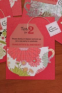 """Tea for 2"" birthday party invitation"