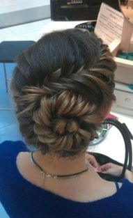 diagonal fishtail with bun