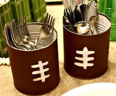 Football party utensil holders out of cans. #DIY #FootballParty #Decor