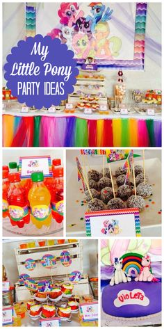 A bright and colorful My Little Pony girl birthday party with rainbow treats and decorations! See more party ideas at CatchMyParty.com!