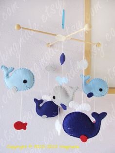 Whale Mobile - Baby Mobile - Nursery Crib Mobile - Fish Mobile - Serene Sea - Navy Blue Whale family and yellow fish (You pick your colors). $92.00, via Etsy.