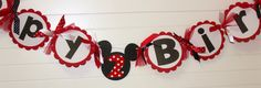 Red Polka Dot Minnie Mouse Banner Birthday by PocketFullofGlitter
