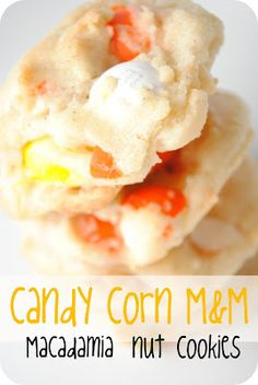 Candy Corn M Macadamia Nut Cookies. #food #Halloween #candy #cookies