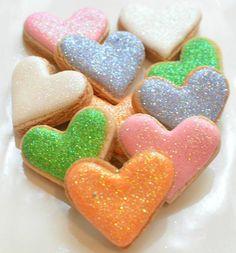 Mini Glitter Hearts Sugar Cookies