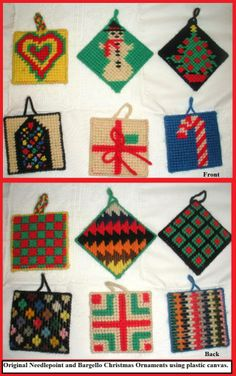 Needlepoint on Plastic canvas ornaments
