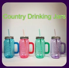 """Today is """"Pin It To Win It Wednesday!"""" Repin these Country Drinking Jars on Caroline & Company's Pinterest Board, Our Favorite Things, for a chance to win one!  One lucky winner will be announced tomorrow! Happy Pinning!  Be festive with these Country Drinking Jars! Perfect for lounging around the pool, laying on the beach, tailgating, or a backyard BBQ!  $10"""