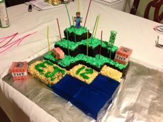 Homemade minecraft cake! Rice Krispies for the sand, blue jello for the water, and chocolate cake for the dirt. Add crushed Oreos to the chocolate for a more realistic dirt look. Looks great and is delicious too!