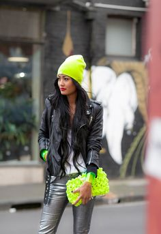 §neon accent fashion, style, cloth, accessori, leather boots, outfit, leather jackets, neon accent, neon yellow