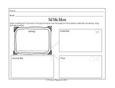 Included are 18 graphic organizers for identifying and describing characters, settings, and important events from stories (gr. K-2). Helpful for assessing and differentiating.