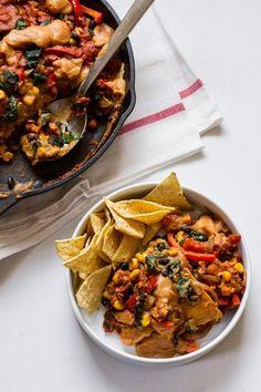 1-Pan Vegan Enchilada Bake with Cauliflower Nacho Sauce | edibleperspective.com