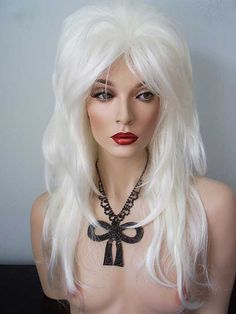 Gemma Wig Long Layered #Drag #wig in white #blonde