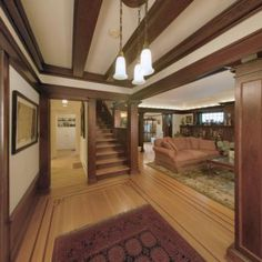 home interiors, floor, beams, craftsman beam, hous, roseville pottery, 1920 craftsman, pendant lights, craftsman interior