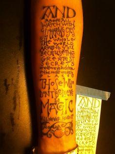Roald Dahl quote tattoo.